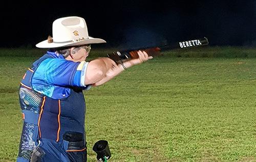 Woman shooting at a Qld Clay Target Club